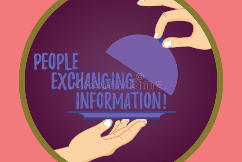 显示人的概念性手文字交换信息 陈列企业的照片传递从一个的信息给 皇族释放例证