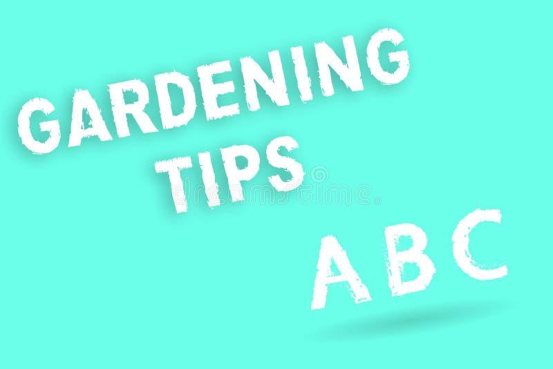 显示从事园艺的技巧的文本标志 概念性在生长庄稼植物的方法的照片适当的实践 皇族释放例证