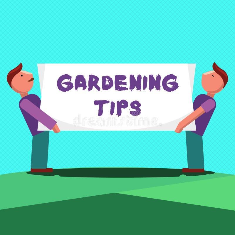 显示从事园艺的技巧的文本标志 概念性在生长庄稼植物的方法的照片适当的实践 库存例证