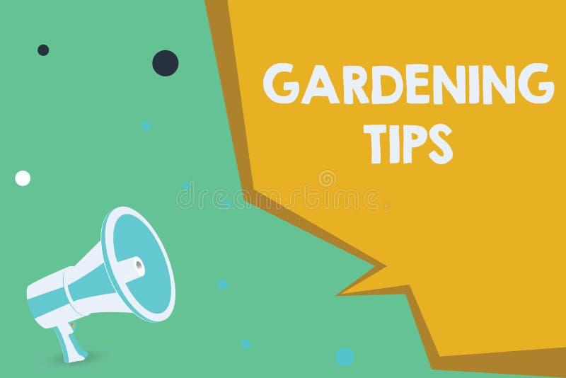 显示从事园艺的技巧的概念性手文字 陈列在生长庄稼植物的方法的企业照片适当的实践 向量例证