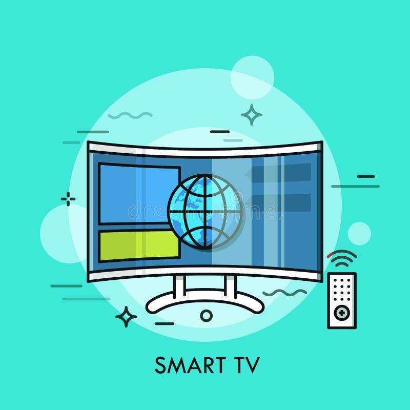 显示从网站的杂种或聪明的电视内容 电视机的概念与互联网连接的,现代 皇族释放例证