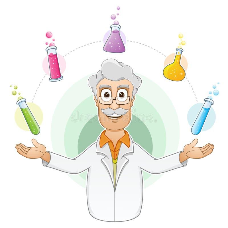 显示他的实验的结果科学家 库存例证
