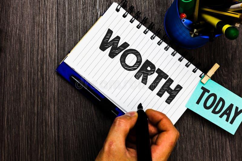 显示价值的文本标志 每日个人和财政意义重要性提示的任命的概念性照片测量 免版税库存图片
