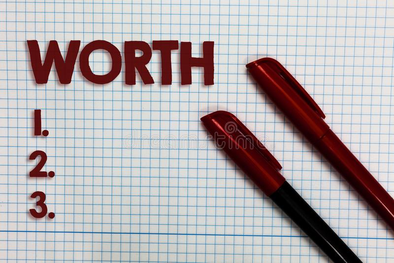 显示价值的概念性手文字 企业照片陈列的测量个人和财政意义重要Gra 免版税库存图片