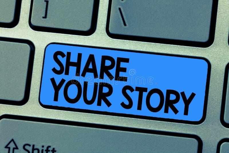 显示份额您的故事的文本标志 概念性照片要求某人对大约他自己写生活传记 免版税库存图片