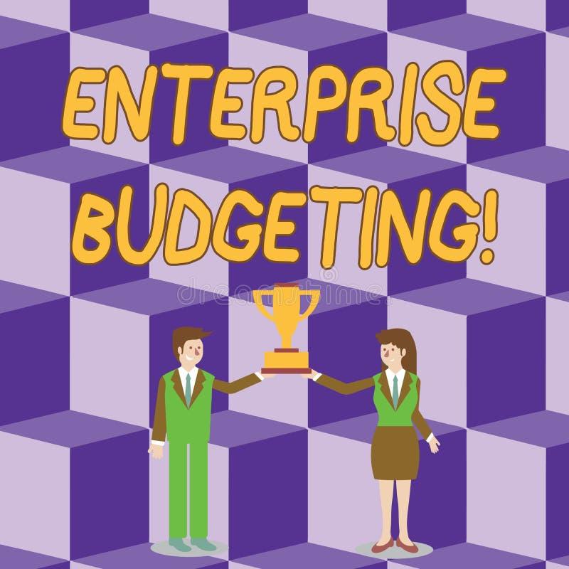 显示企业预算的概念性手文字 陈列估计的收入和费用的企业照片联系 向量例证