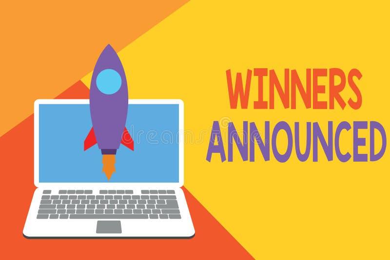 显示优胜者的文本标志宣布 概念性照片宣布谁赢得了比赛或所有竞争发射的火箭 向量例证