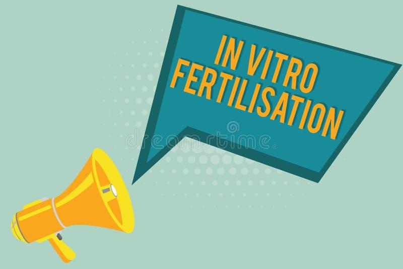 显示体外受精的文本标志 概念性照片鸡蛋由在试管的精液施肥 皇族释放例证