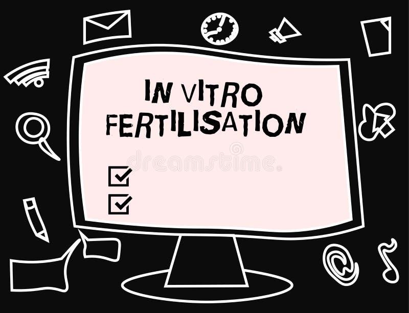 显示体外受精的文本标志 概念性照片鸡蛋由在试管的精液施肥 库存例证