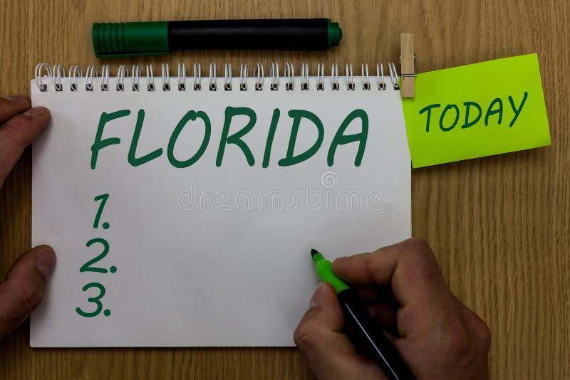 显示佛罗里达的文本标志 概念性照片状态在美国的东南地区晴朗的地方使人靠岸 免版税图库摄影