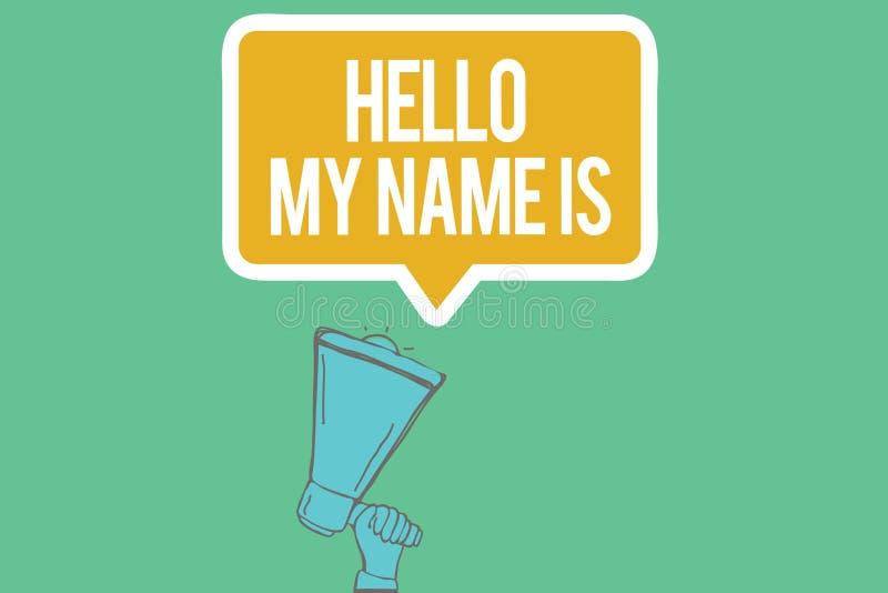 显示你好我的名字的文字笔记是 陈列企业的照片自我介绍给新的人工作者a 库存例证
