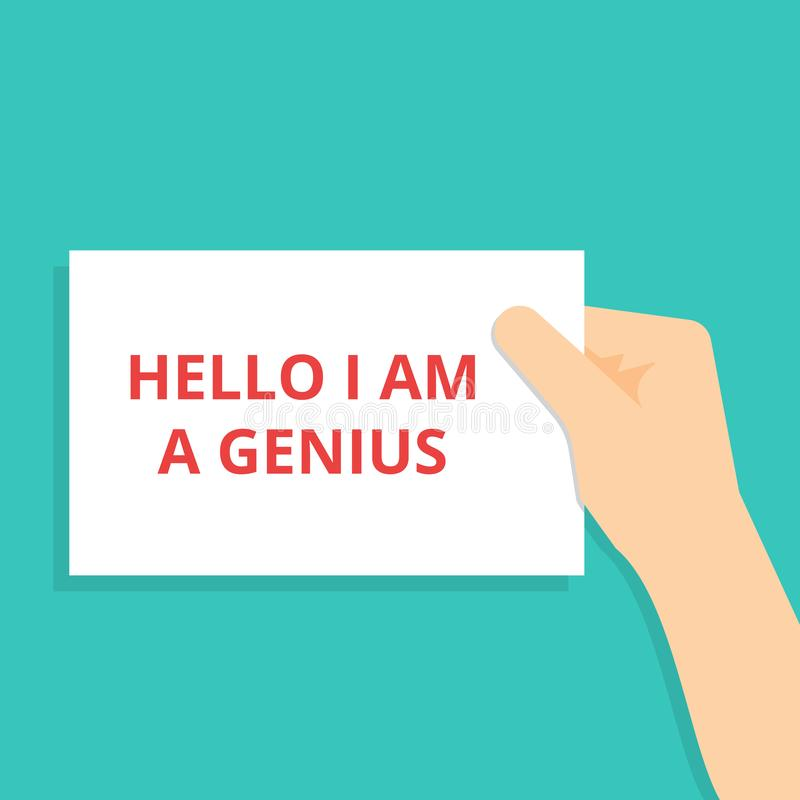 显示你好我的文本标志是天才 向量例证