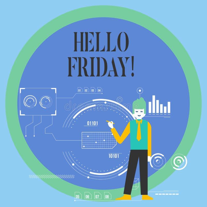 显示你好星期五的概念性手文字 企业照片陈列用于表示从开始的高兴  向量例证