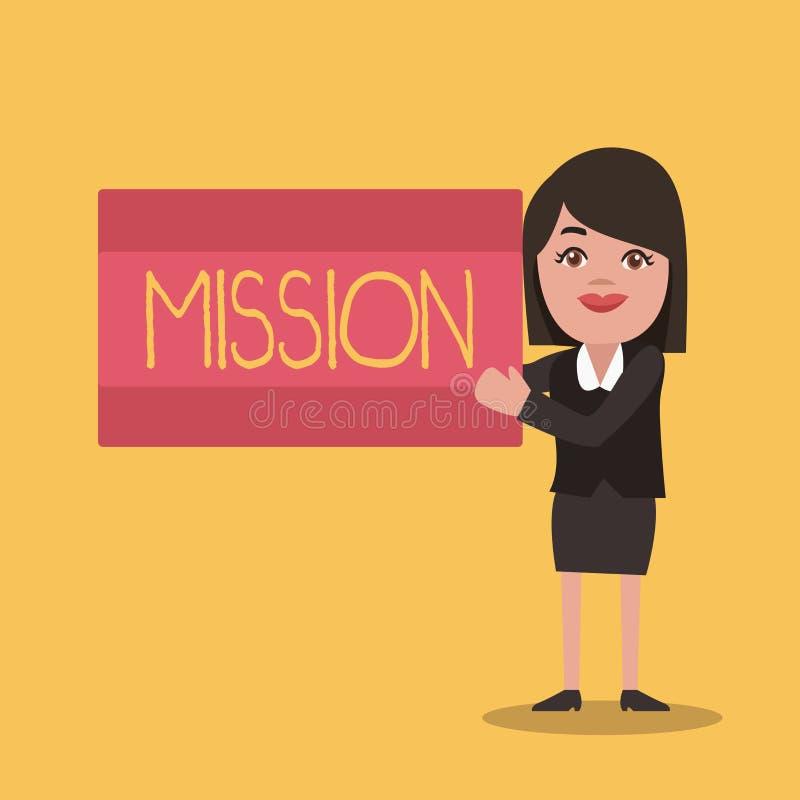 显示使命的文字笔记 陈列公司目标重要任务营业目的和焦点的企业照片 向量例证