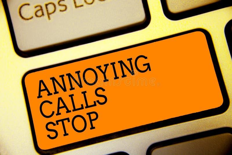 显示使困恼的电话中止的概念性手文字 企业照片文本防止列入黑名单数字恼怒的访问者的垃圾短信电话,但是 图库摄影