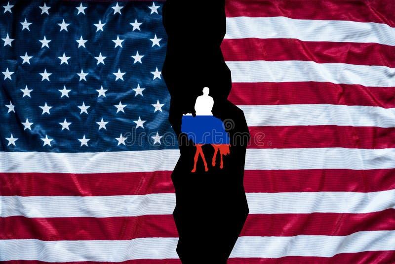 显示俄罗斯旗子的美国国旗开头 免版税库存照片