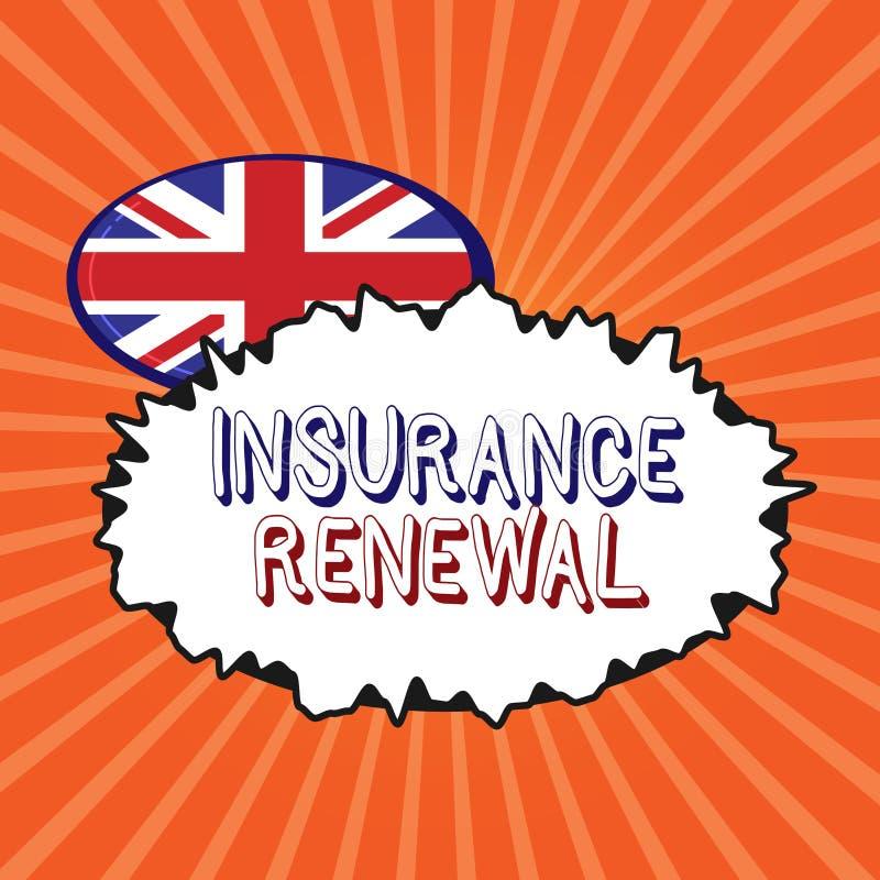 显示保险更新的概念性手文字 企业照片陈列的保护免受经济损失继续协议 皇族释放例证