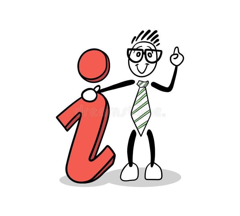 显示信息标志的逗人喜爱的动画片商人 库存例证