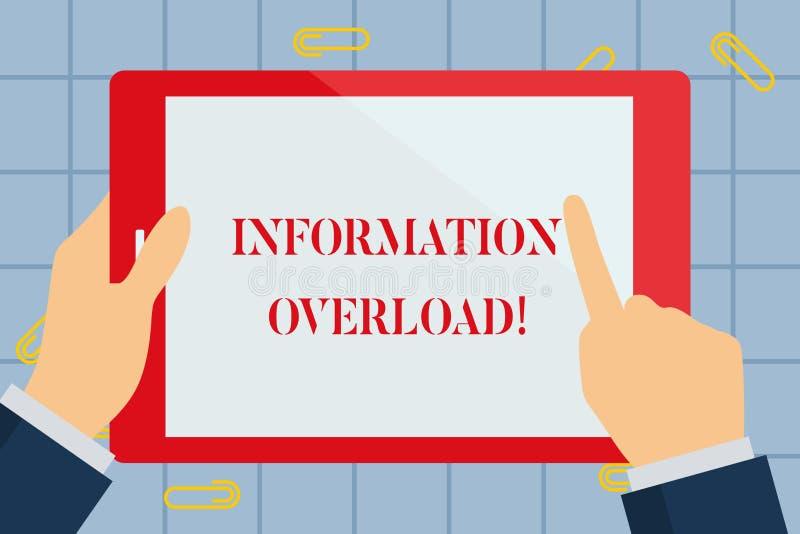 显示信息超载的文本标志 概念性照片许多件信息手藏品暴露对或供应  库存例证