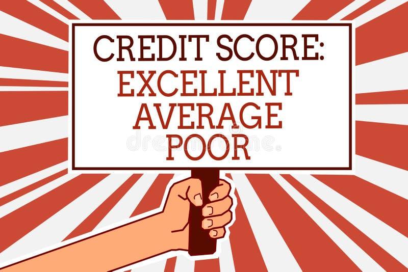 显示信用评分优秀一般的贫寒的文字笔记 陈列平实creditworthness规定值报告人韩的企业照片 向量例证