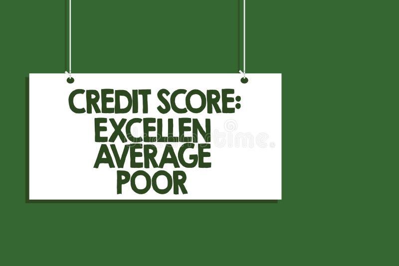 显示信用评分优秀一般的贫寒的文字笔记 陈列平实creditworthness规定值报告垂悬的企业照片 皇族释放例证