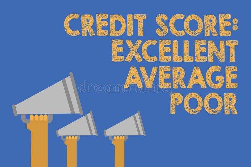 显示信用评分优秀一般的贫寒的文字笔记 陈列平实creditworthness规定值报告的企业照片递h 皇族释放例证