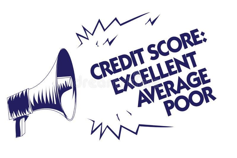 显示信用评分优秀一般的贫寒的文字笔记 陈列平实creditworthness规定值报告蓝色我的企业照片 皇族释放例证