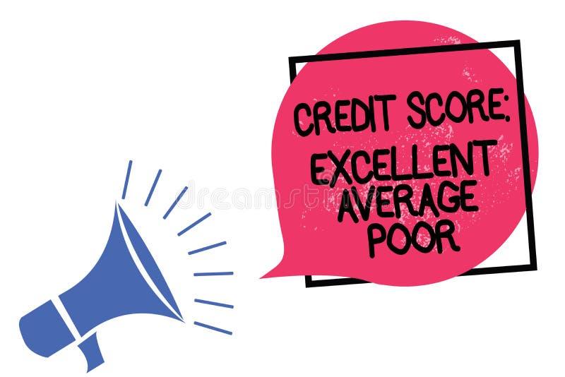 显示信用评分优秀一般的贫寒的文字笔记 陈列平实creditworthness规定值报告Megapho的企业照片 皇族释放例证