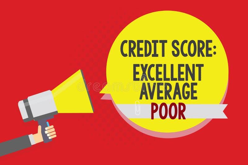 显示信用评分优秀一般的贫寒的概念性手文字 企业照片creditworthness规定值报告Ma的文本水平 库存例证
