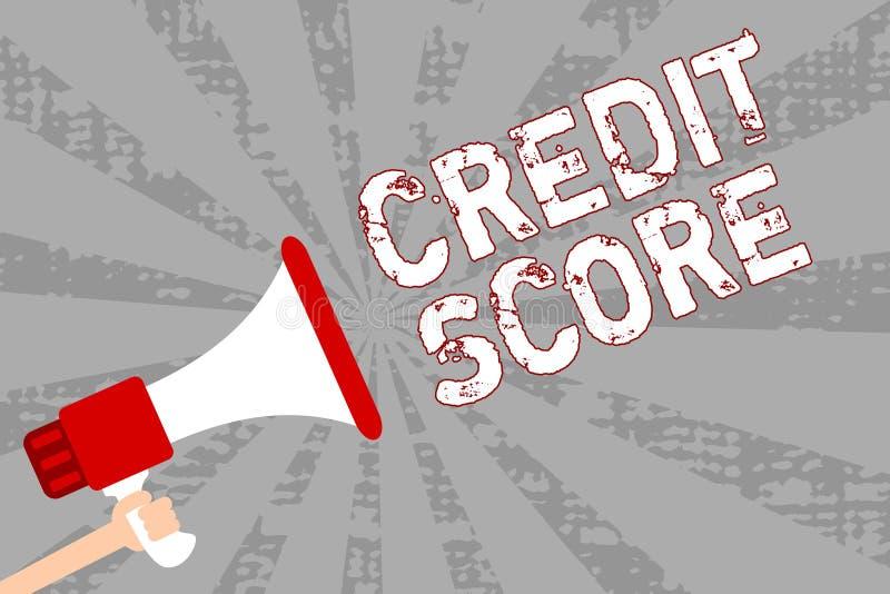 显示信用评分的文字笔记 企业照片陈列代表一个单独Lenders规定值人的信誉ho 向量例证