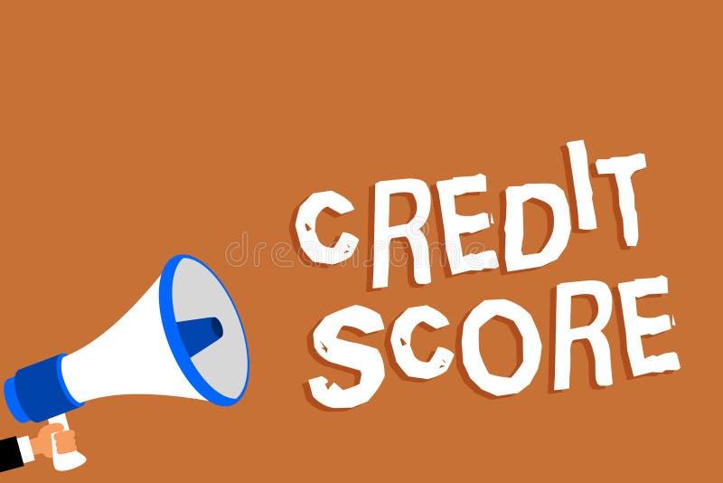 显示信用评分的文本标志 概念性照片代表拿着megaph的一个单独Lenders规定值人的信誉 库存例证