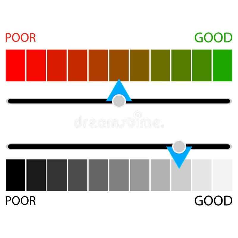 显示信用评级水平的色的和黑白色 皇族释放例证