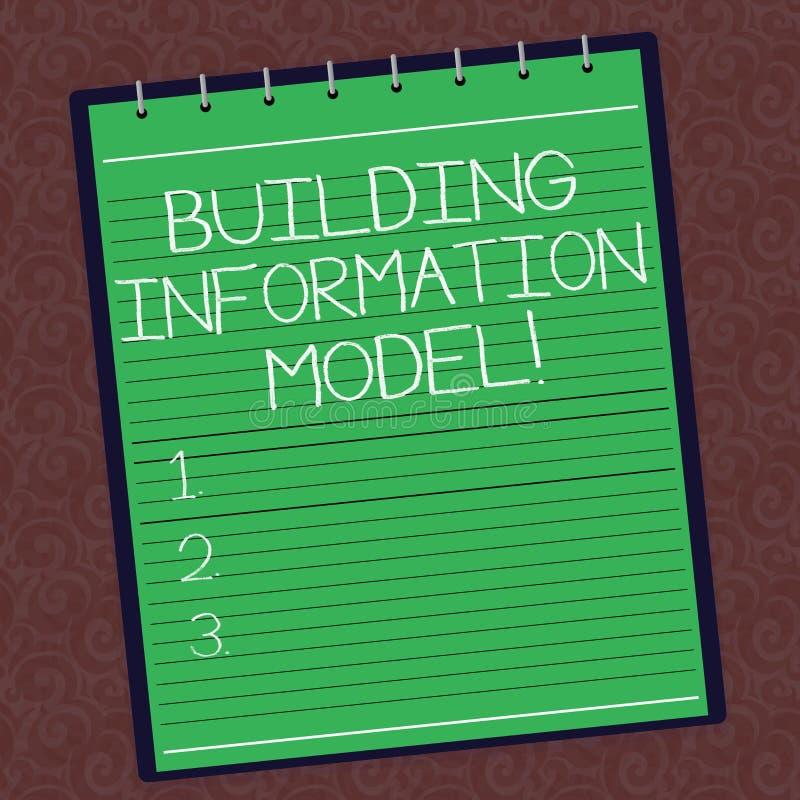 显示修造的信息模型的文本标志 物理设施被排行的螺旋的概念性照片数字表示法 向量例证