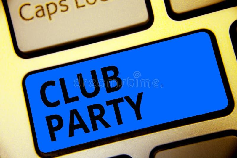 显示俱乐部党的文字笔记 陈列社会汇聚的企业照片在是不拘形式的,并且可能有饮料Keyboa的地方 库存例证