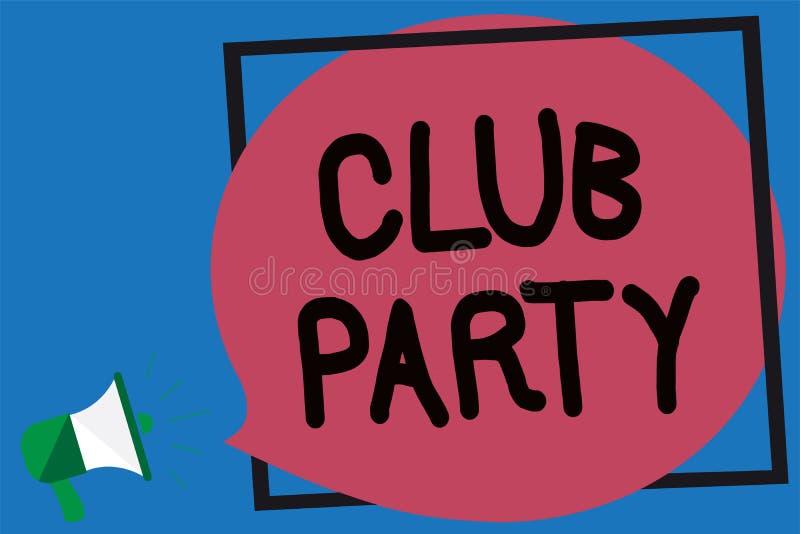 显示俱乐部党的概念性手文字 陈列社会汇聚的企业照片在是不拘形式的,并且可能有博士的地方 库存例证