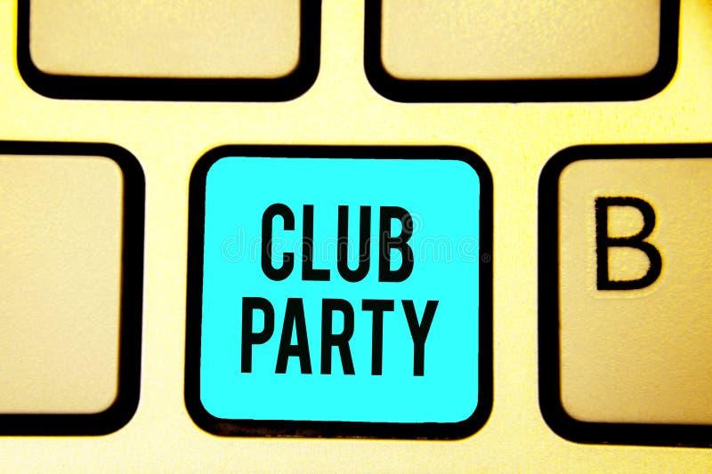 显示俱乐部党的概念性手文字 陈列社会汇聚的企业照片在是不拘形式的,并且可能有博士的地方 免版税库存照片