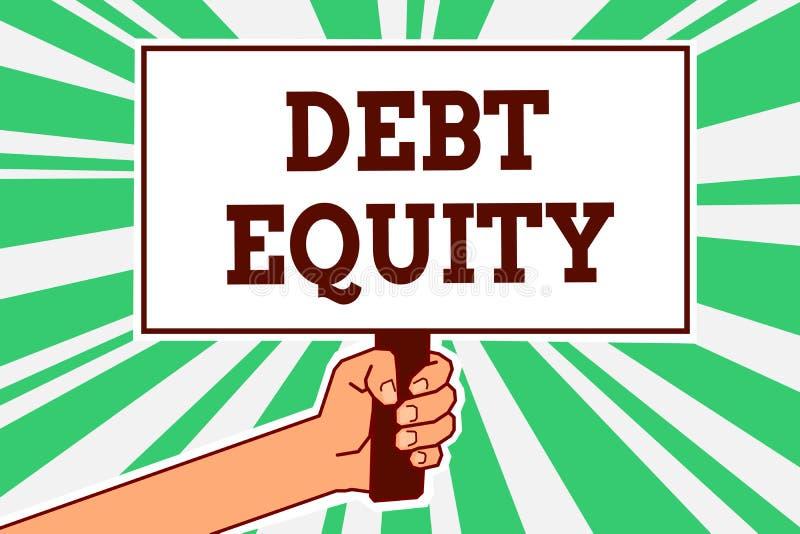 显示债务产权的文字笔记 陈列企业的照片划分公司负债总额由它的股东供以人员手holdi 库存例证