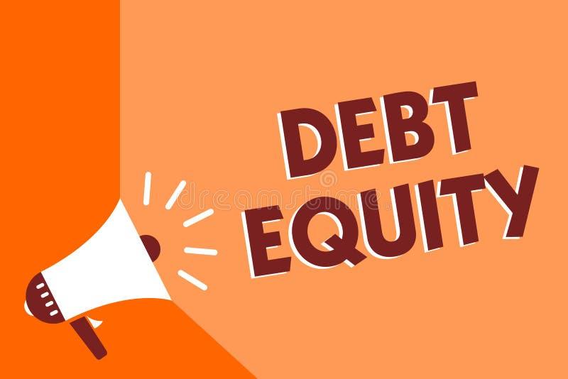 显示债务产权的概念性手文字 企业划分公司负债总额的照片文本由它的股东扩音机 库存例证
