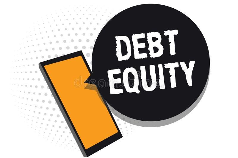显示债务产权的概念性手文字 企业划分公司负债总额的照片文本由它的股东细胞响度单位 库存例证