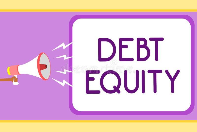 显示债务产权的概念性手文字 陈列企业的照片划分公司负债总额由它的股东人 皇族释放例证