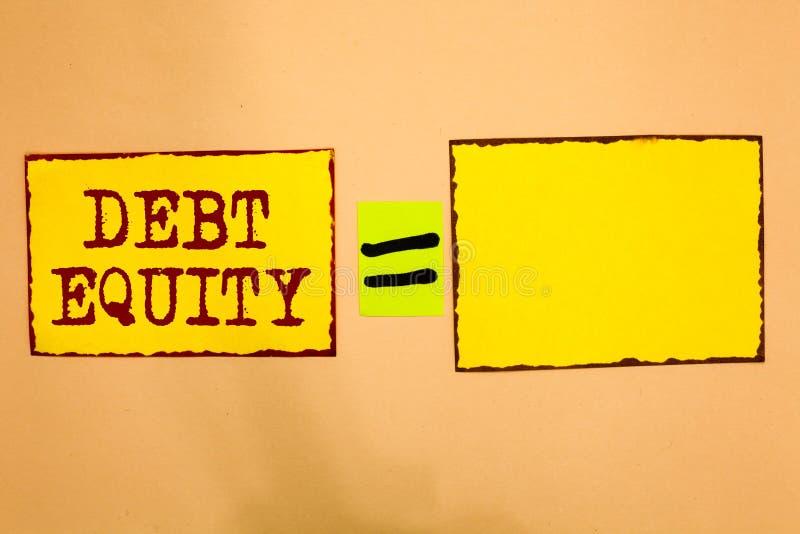 显示债务产权的概念性手文字 陈列企业的照片划分公司负债总额由它的股东Yel 免版税库存照片