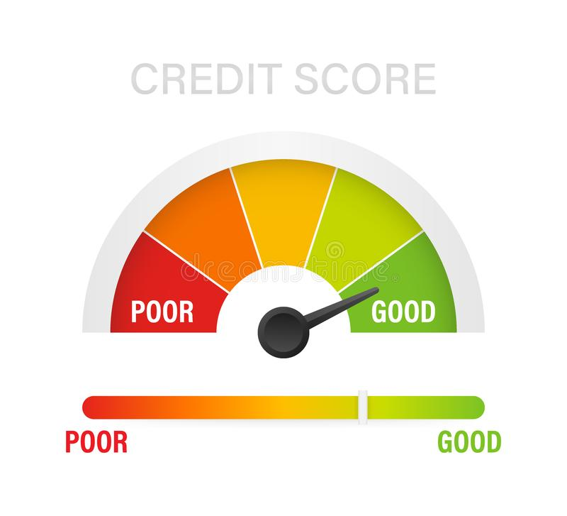 显示值得买的信用评分标度 t 库存例证