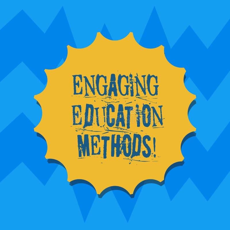 显示允诺的教育方法的文本标志 刺激学生空白的封印的概念性照片教学策略与 皇族释放例证