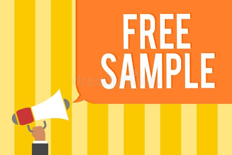 显示免费样品的文本标志 产品的概念性照片部分被测量商城的消费者供以人员拿着扩音机卢霍 向量例证