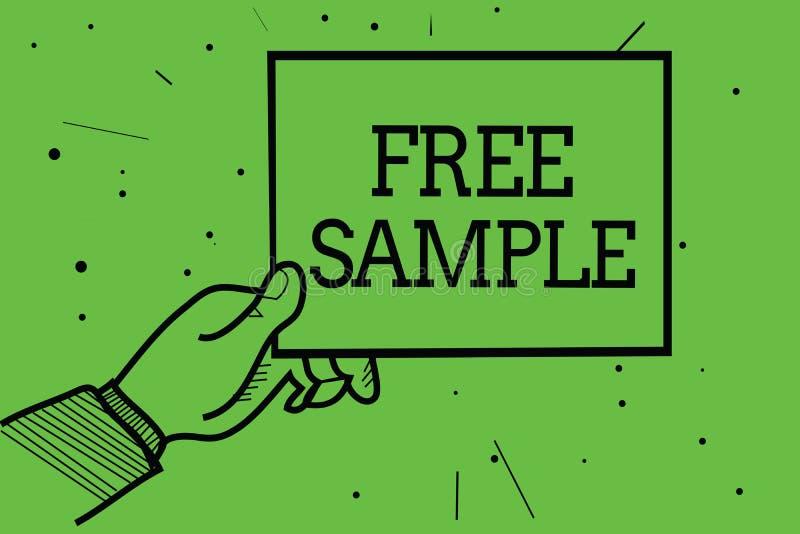 显示免费样品的文本标志 产品的概念性照片部分被测量商城的消费者供以人员拿着纸co的手 库存例证