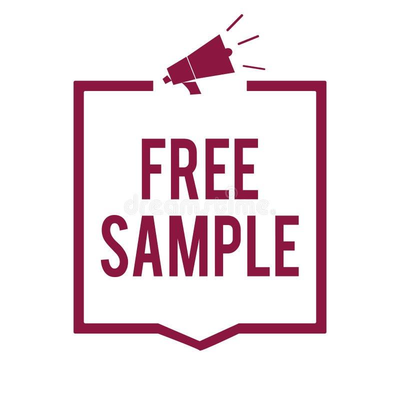显示免费样品的文本标志 产品的概念性照片部分被给商城扩音机扩音器pur的消费者 库存例证