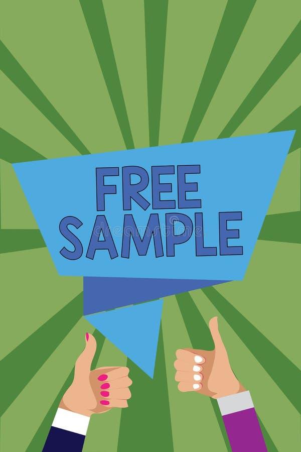 显示免费样品的概念性手文字 产品的企业照片陈列的部分被给商城的Ma消费者 库存例证