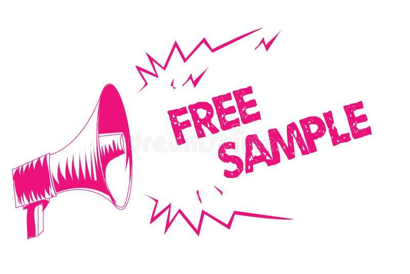 显示免费样品的概念性手文字 企业照片产品的文本部分被测量商城的消费者变粉红色meg 皇族释放例证