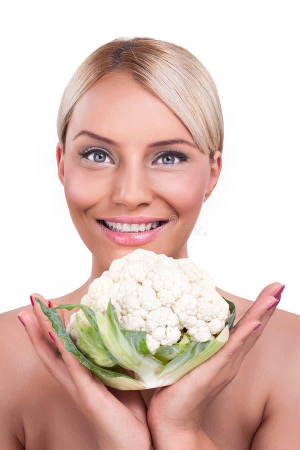 显示全部的花椰菜的妇女 免版税库存照片