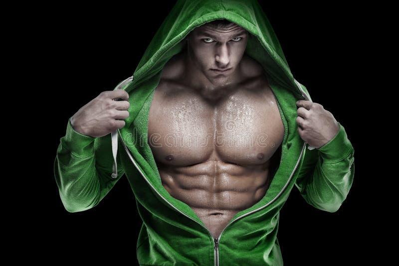 显示六块肌肉吸收的强的运动人健身模型躯干 是 库存图片